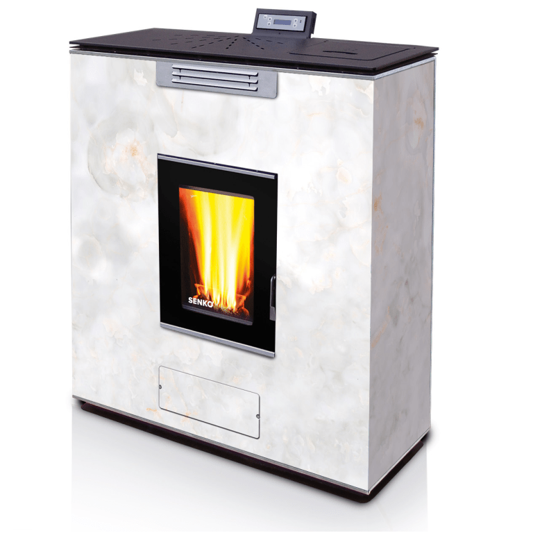 Pellet Stove For Central Heating P 12 Slim Water Air Glass