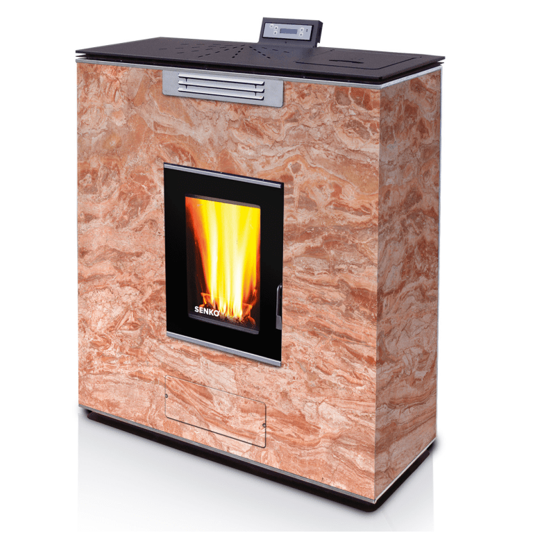 Pellet Stove for central heating P 12 SLIM WATER+AIR GLASS ...